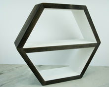 "Load image into Gallery viewer, Hexagon Shelf Single 16"", With Mid Shelf, Honeycomb Shelf, Floating Shelves, Geometric Shelves, Hexagon Shelves, Living Room Shelves"