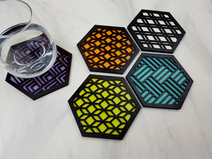Unique Modern Coaster, Design Your Own Set, Colorful Coasters, Single or Sets, Geometric Coasters, Housewarming Gift, Teal Coasters, design black
