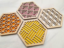 Load image into Gallery viewer, Hexagon Coaster, Fun Coaster, Modern Coaster, Geometric Coaster, Cool Unique Coaster, Wood Coaster Set, Coffer Table Coaster, grey warm