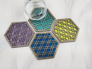 Unique Modern Coaster, Design Your Own Set, Colorful Coasters, Single or Sets, Geometric Coasters, Housewarming Gift, Teal Coaster, design grey