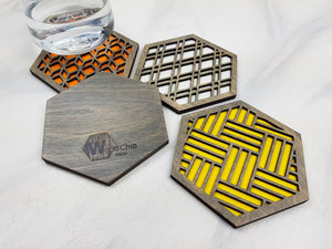 Hexagon Coaster, Fun Coaster, Modern Coaster, Geometric Coaster, Cool Unique Coaster, Wood Coaster Set, Coffer Table Coaster, grey warm