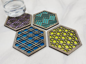 Hexagon Coaster, Fun Coaster, Modern Geometric Coaster, Cool Unique Coaster, Wood Coaster Set, Coffer Table Coaster, Colorful Coaster, Grey cool