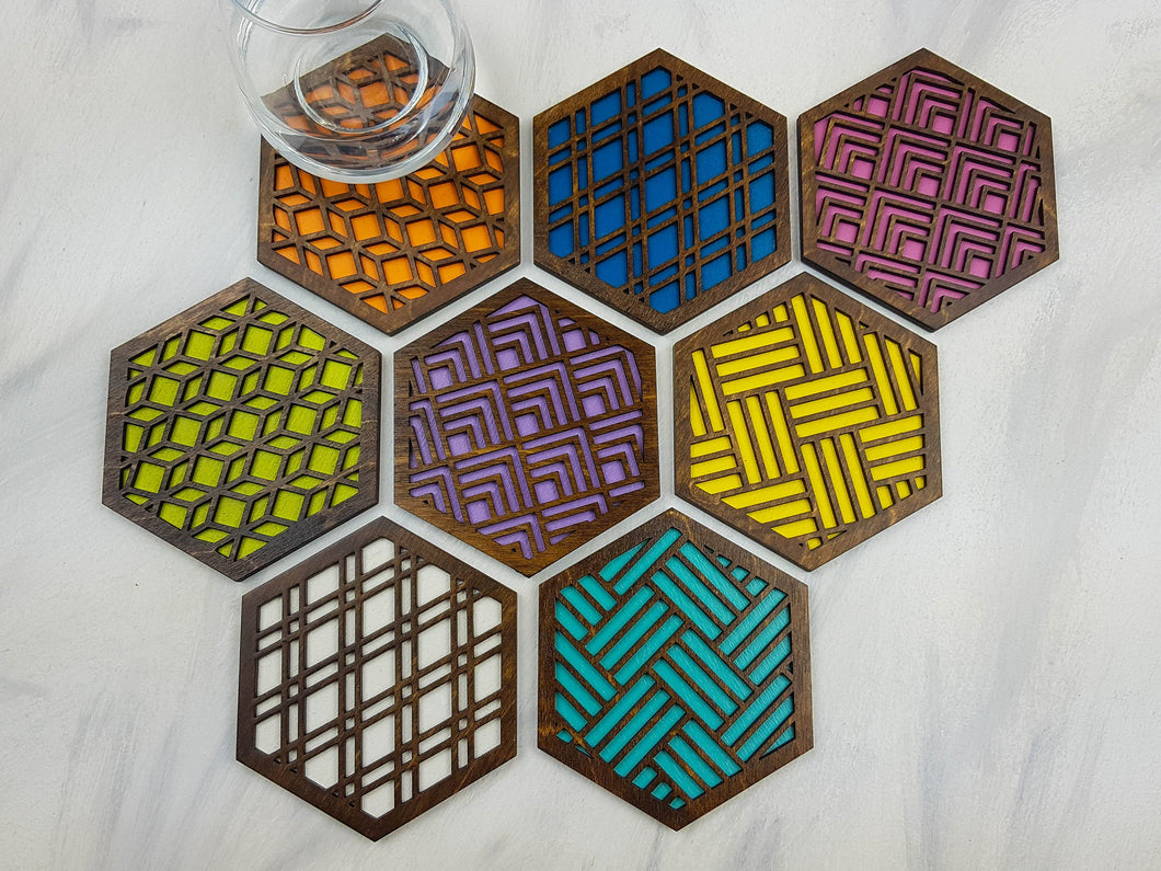 Unique Modern Coaster, Colorful Coasters, Set of Eight, Geometric Coasters, Wood Coaster Set, Coffer Table Coaster, Hexagon Coaster, walnut all
