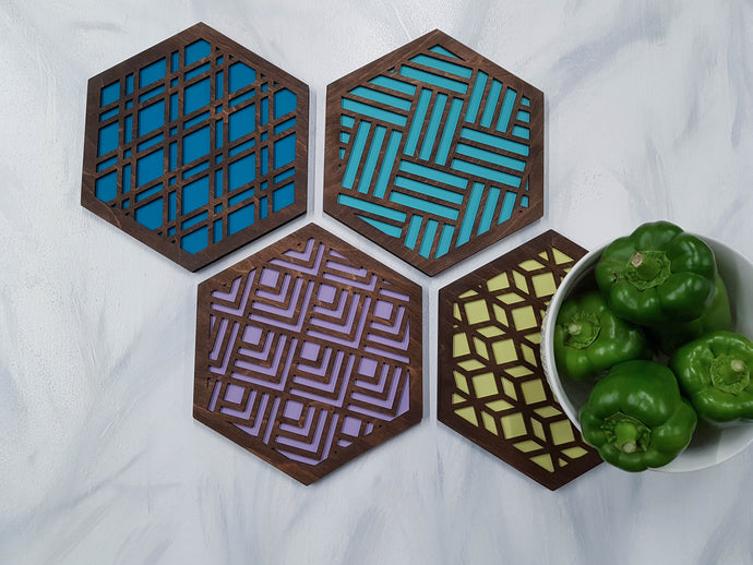 Unique Trivets, Colorful Trivet, Trivet For Plates, Dining Table Trivet, Modern Trivet, Geometric Houseware, Trivet Wood, Kitchen Trivet, Walnut cool