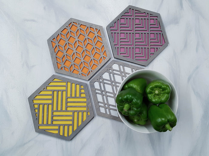 Unique Trivets, Colorful Trivet, Trivet For Plates, Dining Table Trivet, Modern Trivet, Geometric Houseware, Trivet Wood, Kitchen Trivet, grey warm