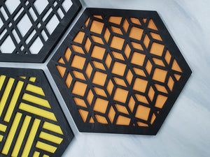 Modern Trivets, Custom Trivet Set, Colorful Trivet, Trivet For Plates, Dining Table Trivet, Unique Trivet, Geometric Houseware, Trivet Wood, design black