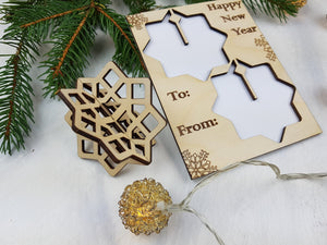Unique Christmas Cards, Pop Out Ornaments, Snowflake Ornament, Geometric Ornament, Holiday Blank card,