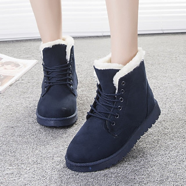Weinflux - Women Boots Faux Suede Snow Boots Women Ankle Boots Warm Fur women booties Solid Winter Boots Leather Women Shoes