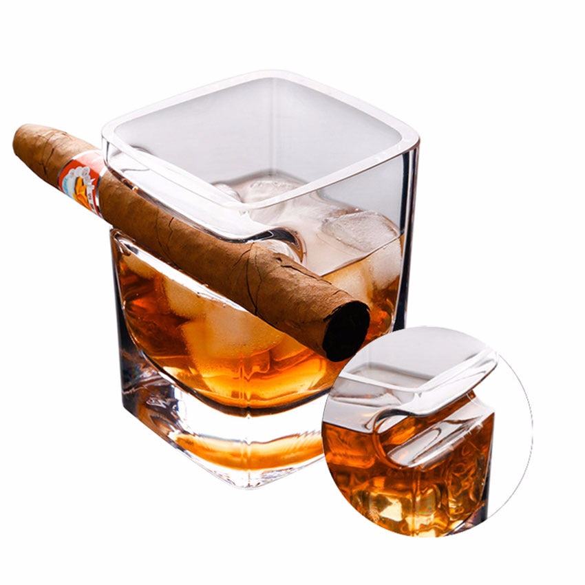 Best Whiskey Glass Tumbler with Cigar Holder 320ml