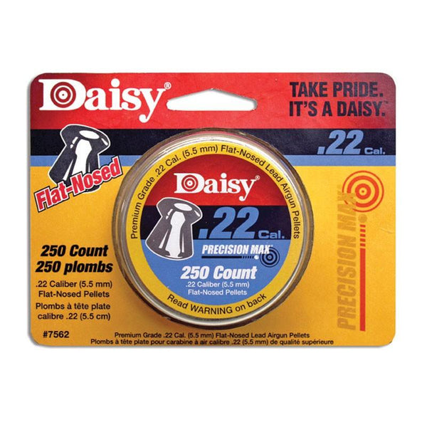 Daisy brand Precision Max 250 count .22 Cal. Flat Nosed Pellets.