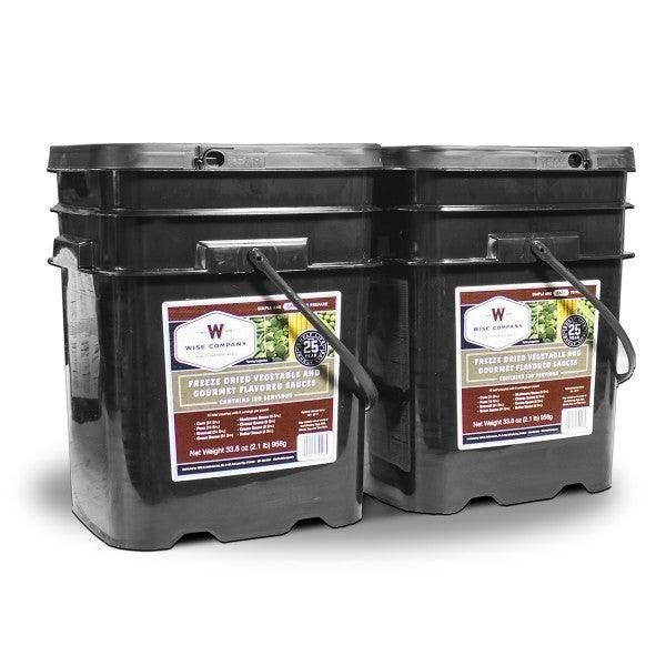 Long term survival food the 240 Serving Wise vegetable bucket with 25 year shelf life.