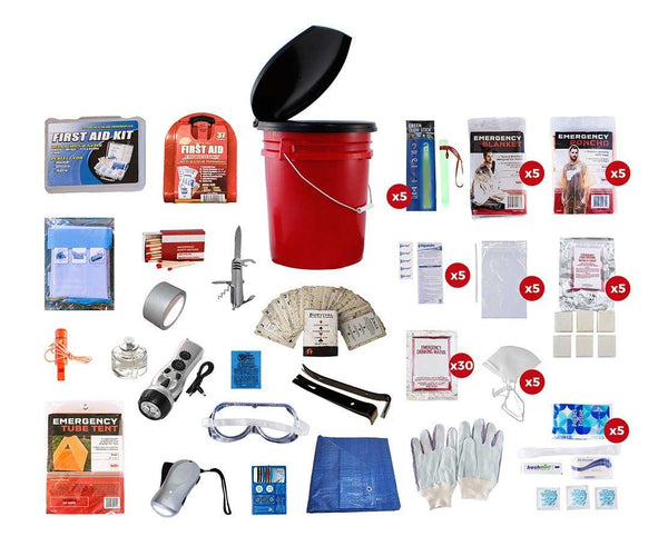 5 Person 72 hour survivl kit All items are packed securely in our 5-Gallon Bucket with Toilet Seat Lid. Individual components are placed in waterproof bags and neatly organized in the bucket for easy access