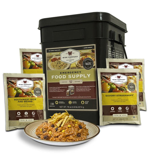 Emergency prepper survival food kit with 52 servings food and drinks.