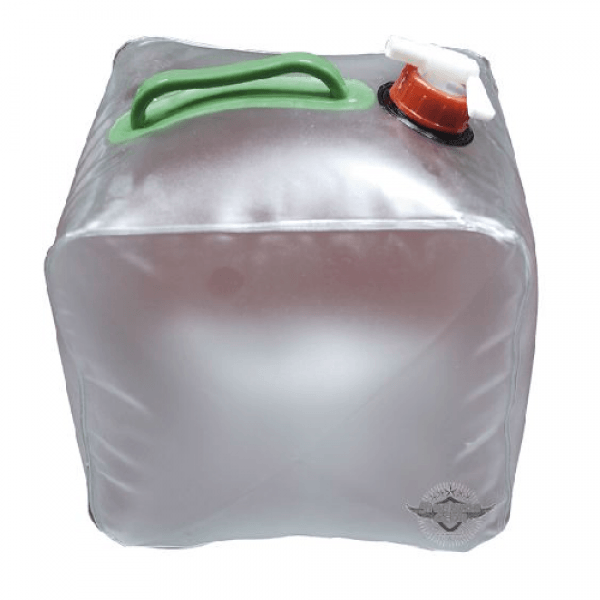 5 gallon collapsible water bag with spigot made by 5ive Star for survival kits.