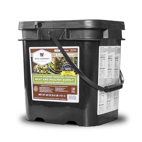 Freeze dried 60 servings Wise meat emergency food bucket with long term shelf life.