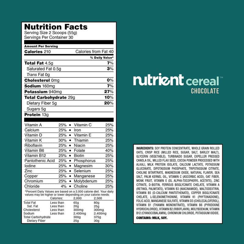 Nutrient (30 servings) Cereal Bulk Chocolate or Maple Almond