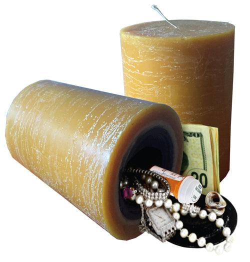 Real working candle that is also a diversion safe with hidden compartment to hide valuables inside safely.