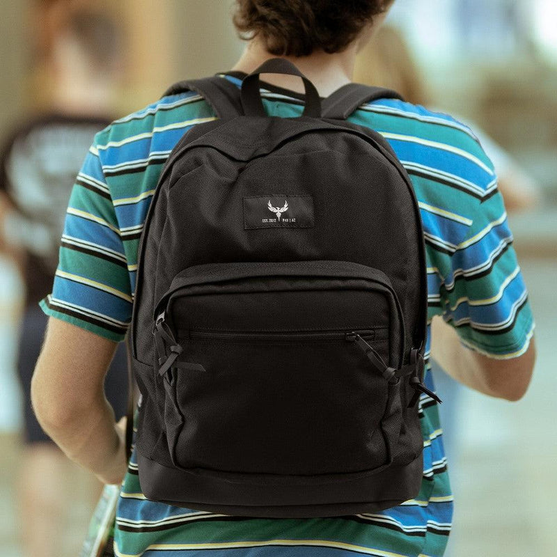 Black bulletproof backpack for students personal safety when away from home all ages.