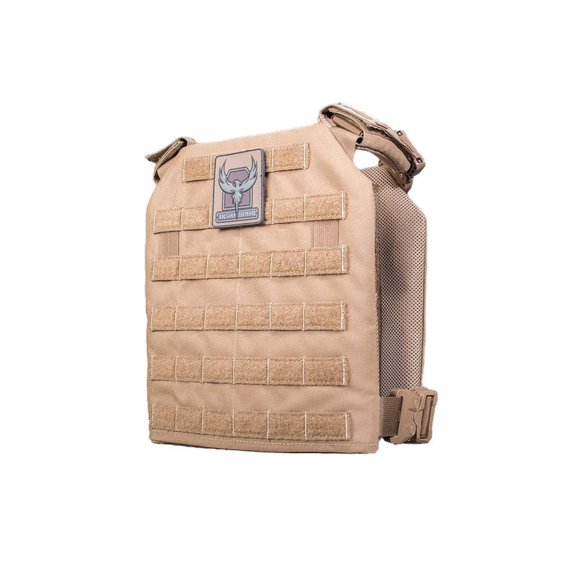 The AR500 Armor Guardian plate in the color coyote brown.