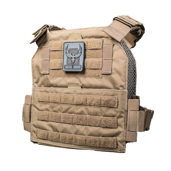 The AR500 Armor Arena plate carrier shown in the color coyote brown.