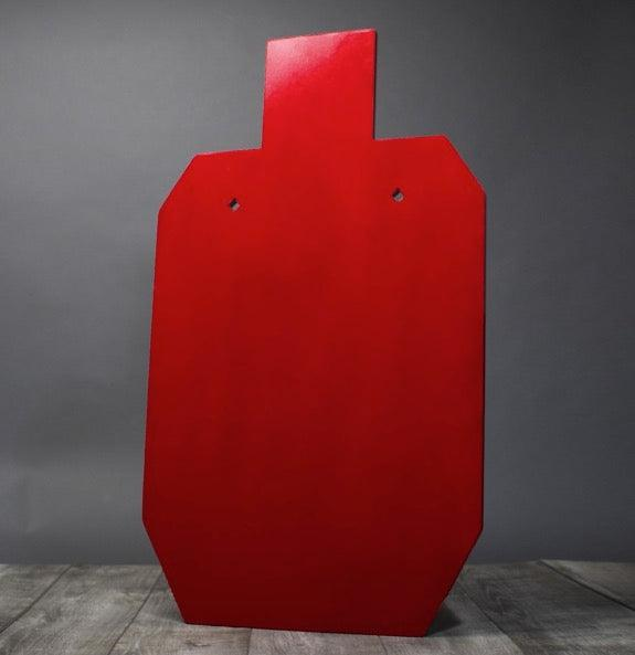AR500 Armor red steel practice target silhouette for law enforcement and civilian use.