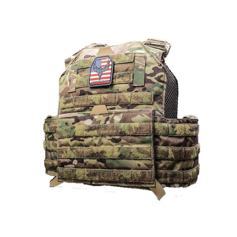 The AR500 Testudo plate carrier multi-cam style with green view of the side.