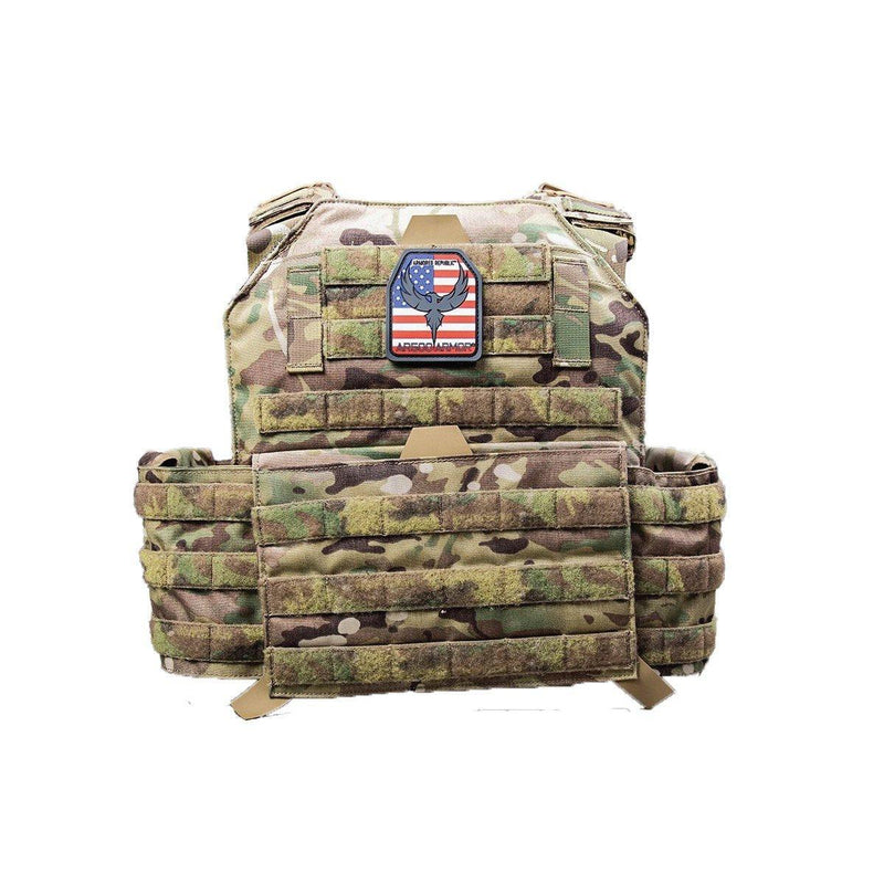 The AR500 Testudo plate carrier multi-cam style with green.
