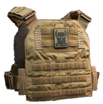 The AR500 Armor Veritas modular plate carrier shown in the color coyote brown.
