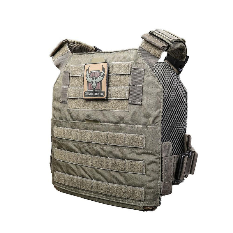 The AR500 Armor Veritas modular plate carrier in the color green olive drab.