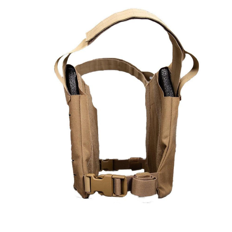 The AR500 Armor Freeman plate carrier with all the protection of NIJ compliant Level III plates shown side view.