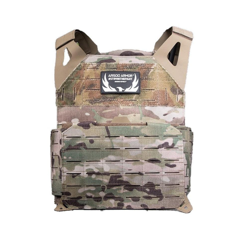 The AR500 Invictus ballistic plate carrier color and design multi cam.