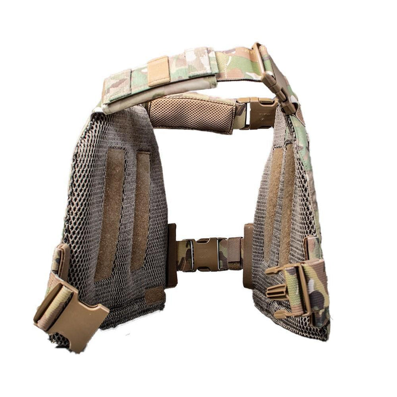 The AR500 Armor Veritas modular plate carrier in the color multi camo shown image side view.