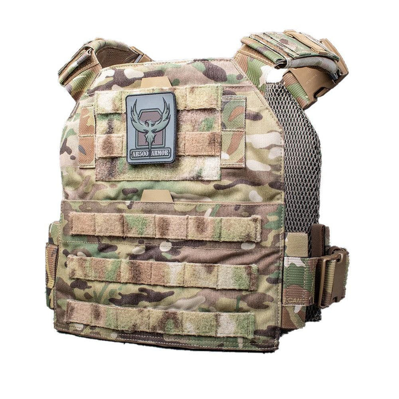 The AR500 Armor Veritas modular plate carrier in the color multi camo with 5 year warranty.