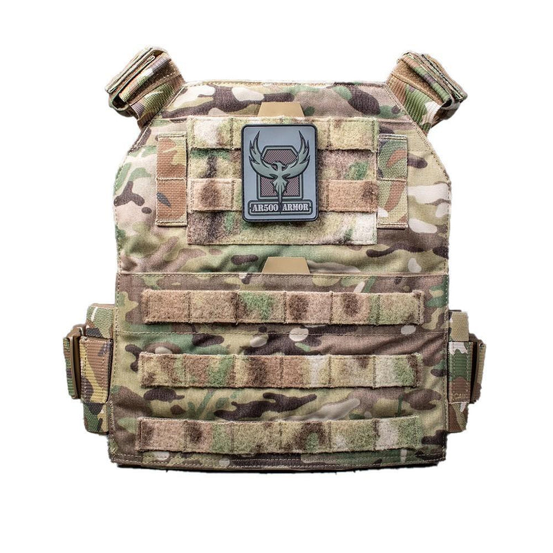 The AR500 Armor Veritas modular plate carrier shown in the multi-camo design color.