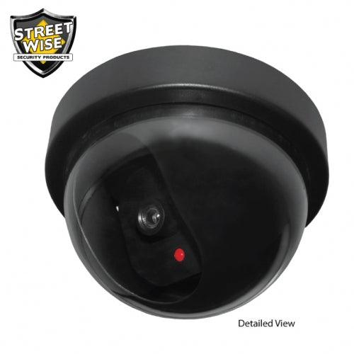 Fake Dome Dummy Security Camera with Flashing LED Light looks exactly the same as a real dome camera.