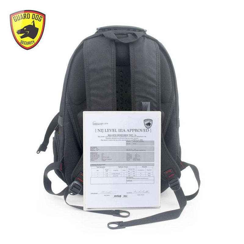 Certified NIJ Level 3A ballistic protection bulletproof backpack.