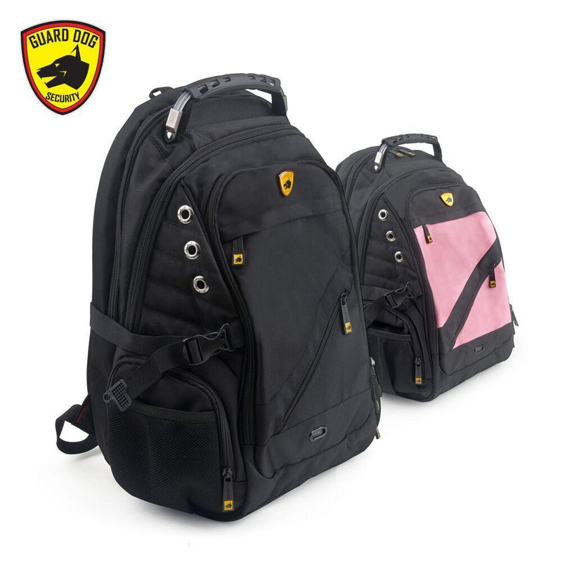 Colors black or pink bulletproof backpacks.