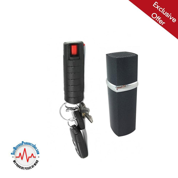 Personal protection option for women lipstick alarm with powerful key-chain pepper spray.