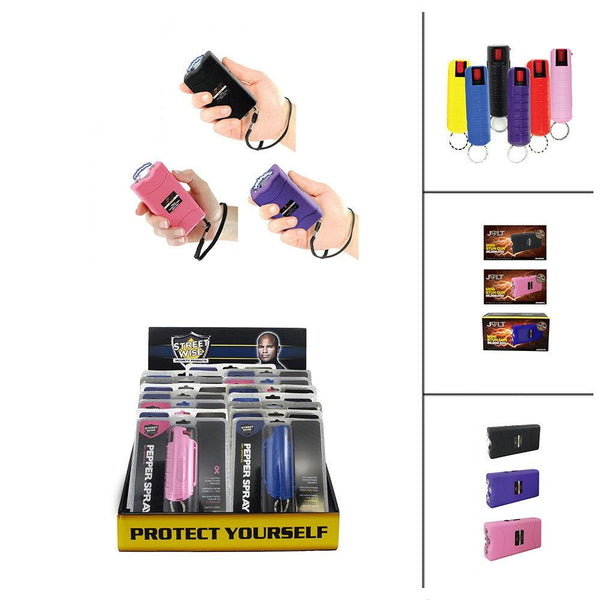 Bulk wholesale with discount pricing for the Jolt brand mini stun guns bundled with hard-case key-chain pepper spray available six different colors.