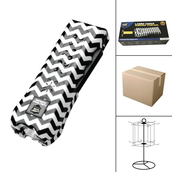 Bulk wholesale discount pricing for the black and white zebra Ladies Choice stun gun with safety disable pin.