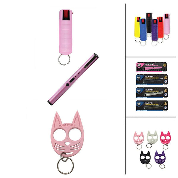 36 Units Pepper Sprays Stun Pens and Kitty Self Defense Key-Chains
