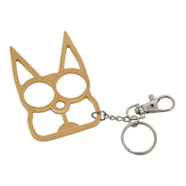 Bulk wholesale discount pricing for the color gold steel cat self defense key-chain.
