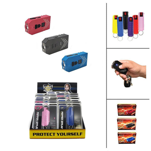 Bulk discount pricing for the Jolt 4 in 1 stun gun and hard-case key-chain pepper sprays for women and men.