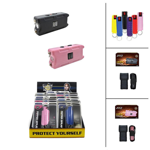 Bulk wholesale discount pricing for Jolt Jack stun guns and hard-case pepper sprays.