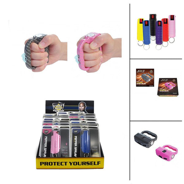 Bulk wholesale discount pricing for the Jolt Protector HD stun guns with hard-case pepper sprays for women and men.