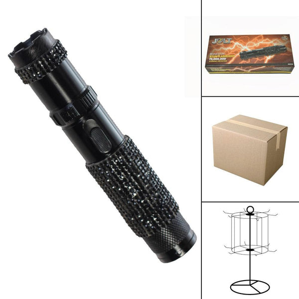 Bulk wholesale discount pricing for the Jolt black color Rhine Stun gun with bright flashlight.