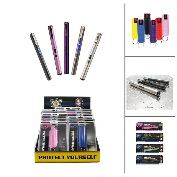 Bulk wholesale with discount pricing for pain pen stun guns and hard-case pepper sprays bundled together.