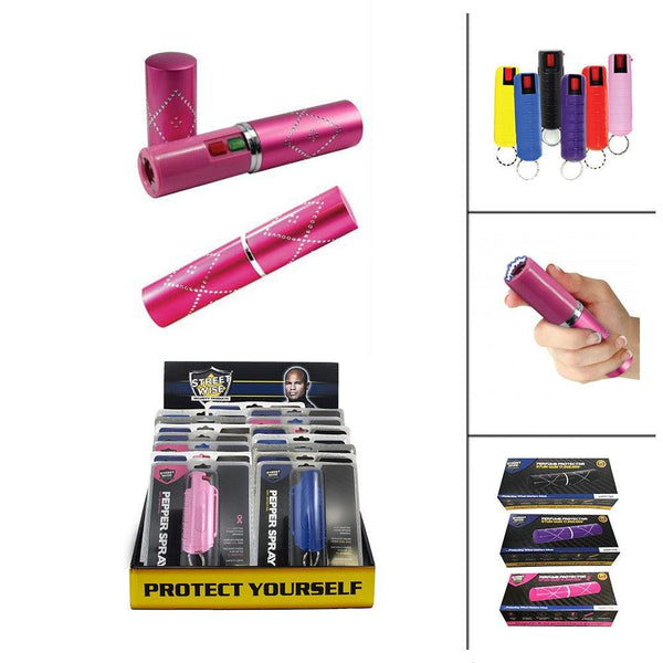 Bulk discount pricing for perfume protector stun guns bundled with key-chain pepper sprays for women personal protection and self defense.