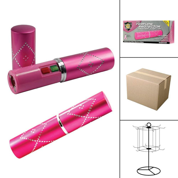 Bulk wholesale discounts for the pink disguised Perfume Protector stun gun for women self defense protection.