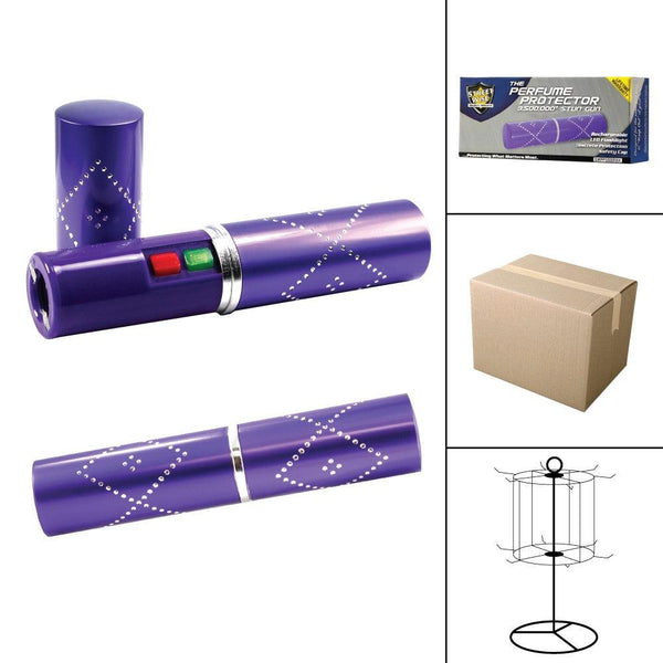 Bulk wholesale discount pricing for the purple colored perfume protector stun gun for women self defense protection.